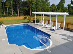 Thursday Pools custom in ground fiberglass swimming pool sold and installed by Waide's Pools in Erie, PA.