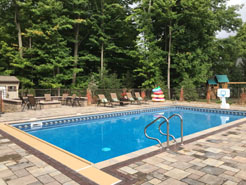 Waide's Pools and Spas experts installed this custom in ground pool to enhance the existing customer landscaping.