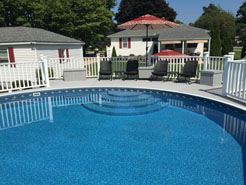 Above ground pool installed by Waide's Pools and spas in Erie, PA.