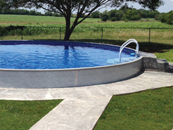 4 foot round semi in-ground pool in flat back yard in Erie, PA.